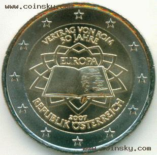 2欧元纪念币奥地利2007图片