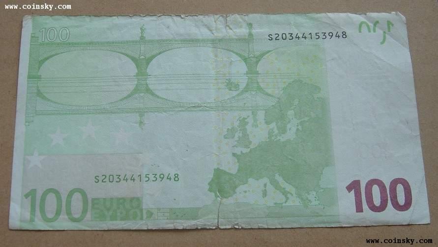 100欧元钞票,低于汇率出图片