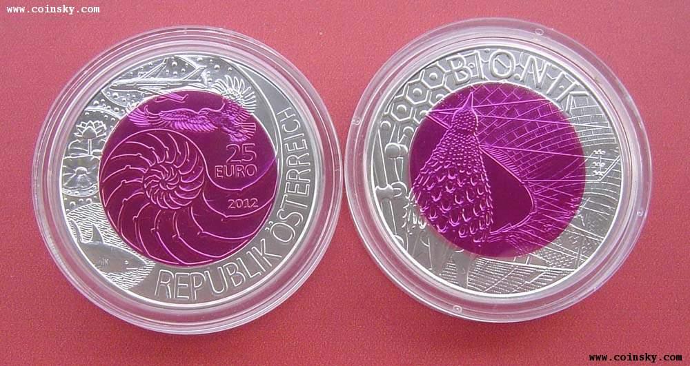 奥地利2012年纪念生物仿生学-25欧元银铌合金双色币图片