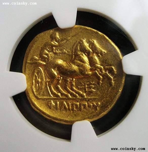 古希腊马其顿/太阳神阿波罗/双马车金币图片