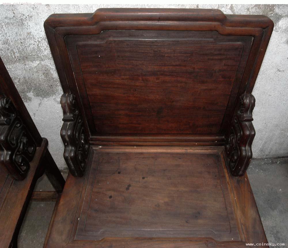 [已售] 大尺寸三弯腿灵芝脚,榉木镶红木屏风椅一对