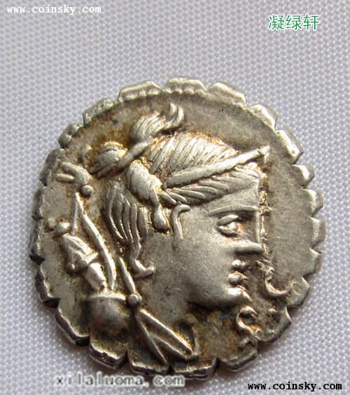 古罗马共和时期月亮和狩猎女神戴安娜银币