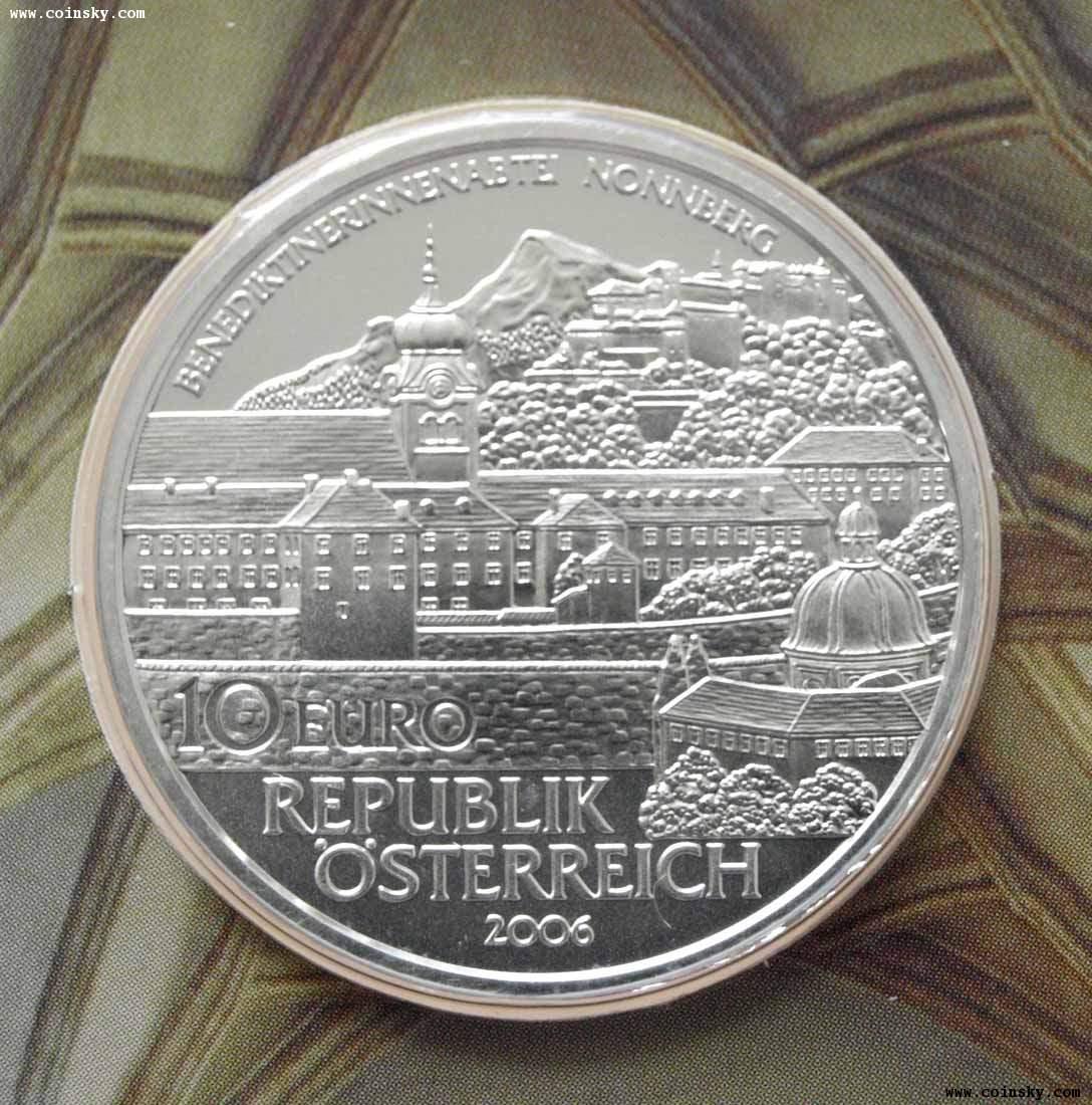 2006奥地利发行侬山修道院10欧元类精制纪念银币(卡币图片