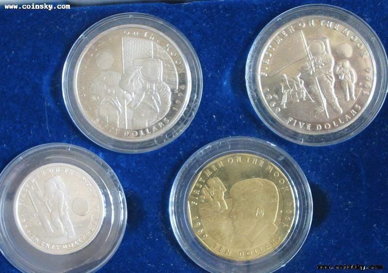 1994马绍尔群岛2银1铜1镍4枚全套登月纪念