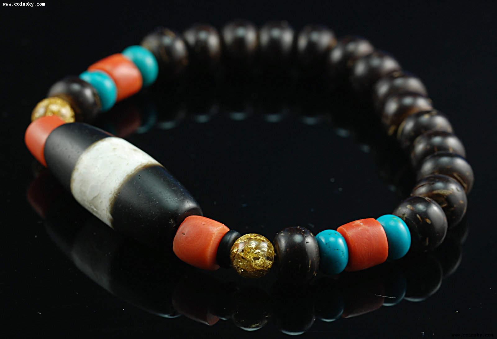 精美 藏式珊瑚黑白天珠 手链图片