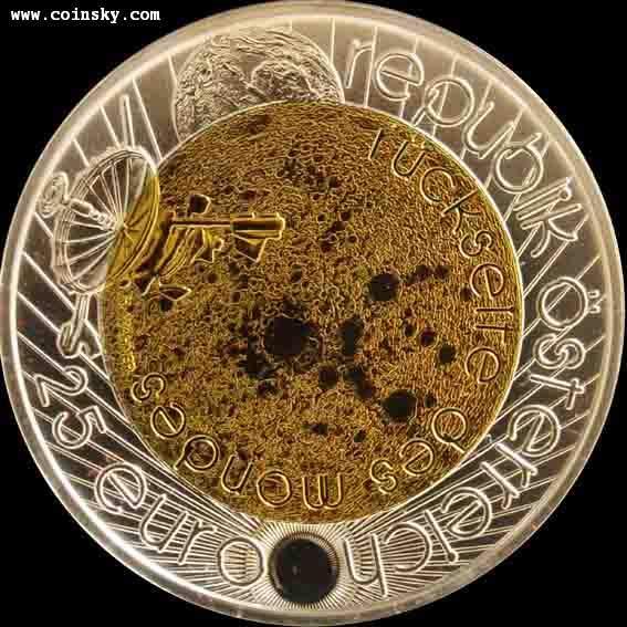 2009年奥地利发行天文年-伽利略25欧元铌夹心银币图片
