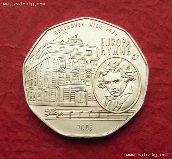 [预订] 奥地利2005年-贝多芬-5欧元纪念银币图片