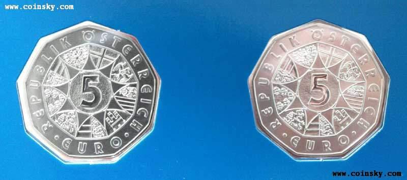 2010年奥地利发行冬奥会跳台滑雪花样滑雪5欧元银套币图片