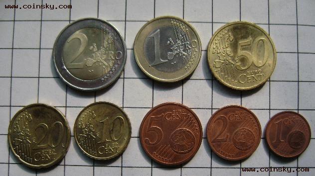 2 D 德国版欧元硬币 清年版一套8枚图片