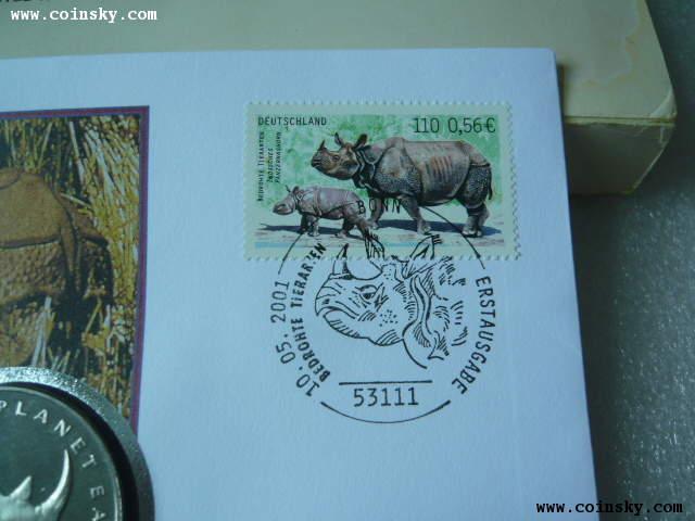 邮币封厄立特尼亚1994年犀牛克朗纪念币