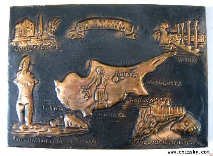 希腊地中海地图 铜板画