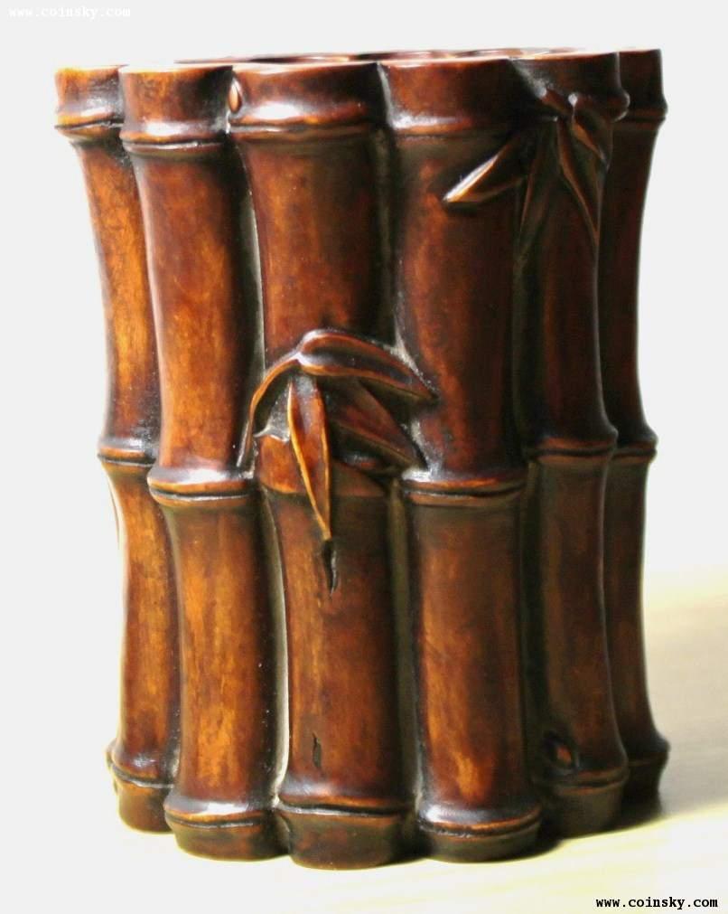 黄杨木雕竹形笔筒