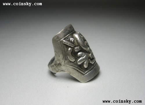牡丹花纹银戒指